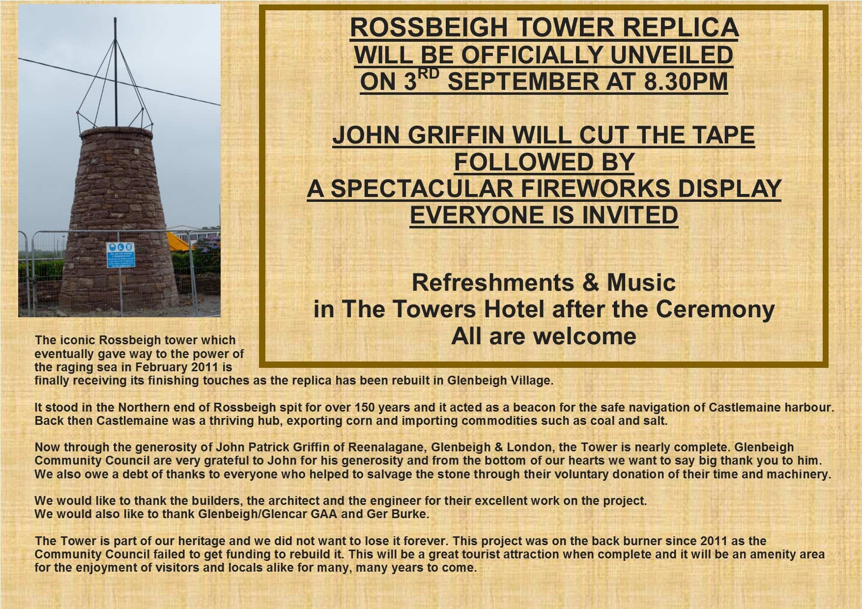 Rossbeigh Tower Unveiling L