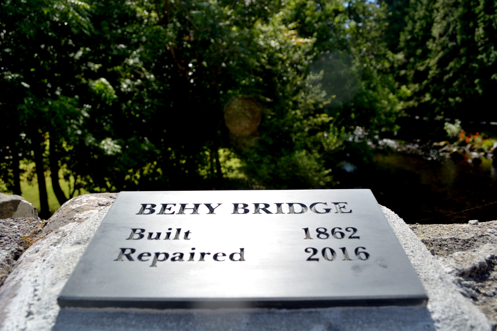 Plaque on The Behy Bridge